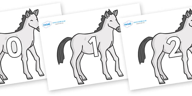 Numbers 0-31 on Ponies - 0-31, foundation stage numeracy, Number recognition, Number flashcards, counting, number frieze, Display numbers, number posters