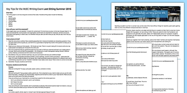 Key Tips For WJEC Writing Exam Last Sitting Summer 2016 - key tips, wjec, writing, exam, last sitting, summer, 2016