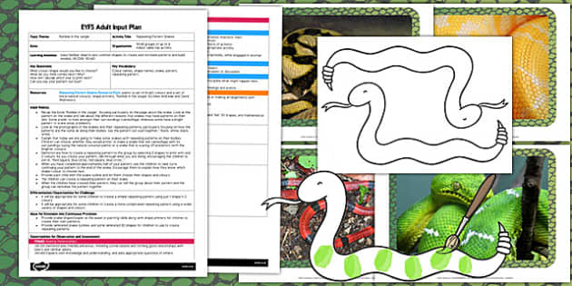Repeating Pattern Snakes EYFS Adult Input Plan and Resource Pack to Support Teaching on Rumble in the Jungle