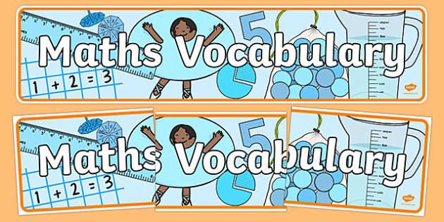 Maths Vocabulary Display Banner - maths vocabulary, maths, vocabulary, display banner