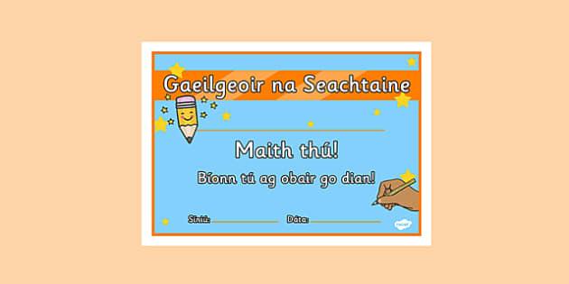 Gaeilgeoir na Seachtaine First and Second Class Certificate - roi, irish, gaeilge, certificate, language, Gaeilgeoir, First and Second Class