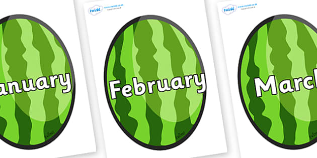 Months of the Year on Melons (Vertical) - Months of the Year, Months poster, Months display, display, poster, frieze, Months, month, January, February, March, April, May, June, July, August, September