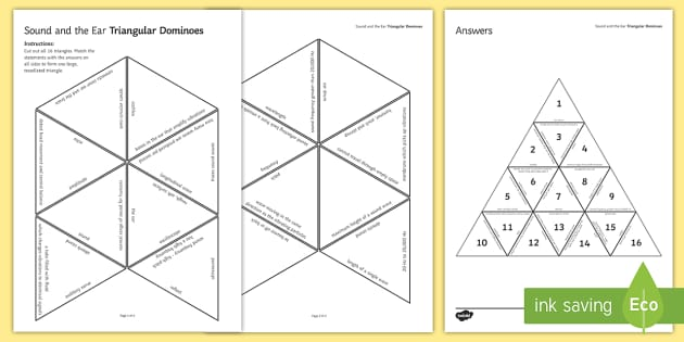 Sound and the Ear Tarsia Triangular Dominoes - Tarsia, Dominoes, The Ear, Sound, Hearing