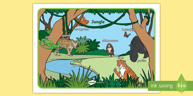 Jungle Scene Word Mat - jungle,  vocabulary mat, word mat, key words, topic words, word poster, vocabulary poster, scene words, literacy, themed word mat