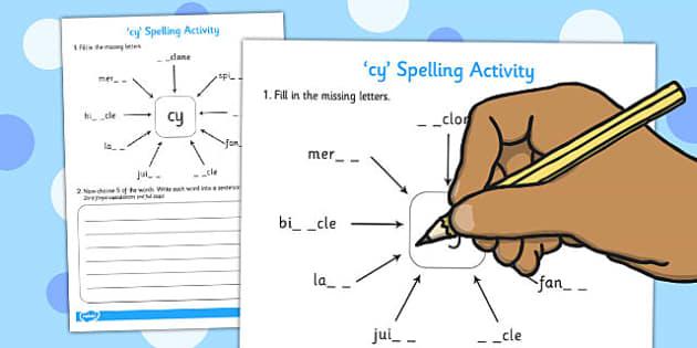 cy Spelling Activity - cy, spelling activity, spell, activity