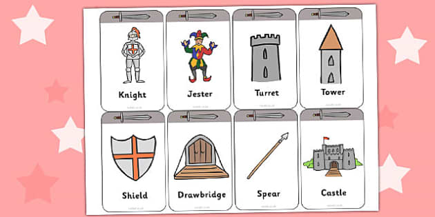 Castles and Knights Flashcards - castle, knight, flash cards
