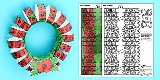 3D ANZAC Day Poppy Wreath - Anzac Day, Poppy, Wreath, New Zealand, history