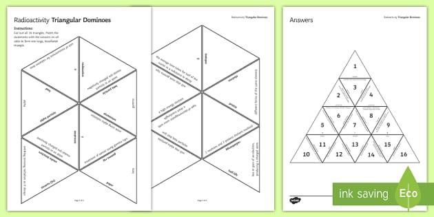 Radioactivity Tarsia Triangular Dominoes - Tarsia, gcse, physics, radioactivity, radioactive, half life, half-life, decay, ionisation, ionising