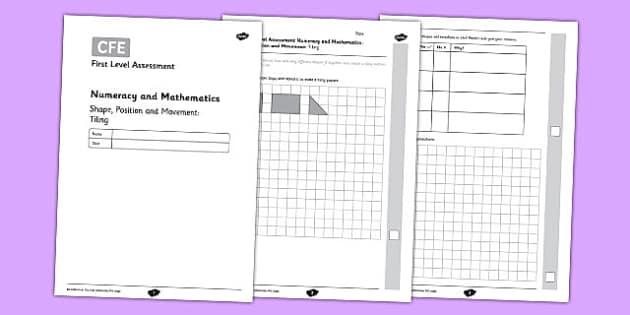 First Level Assessment - Shape: Tiling - CfE, assessment, shape, 2D, 3D