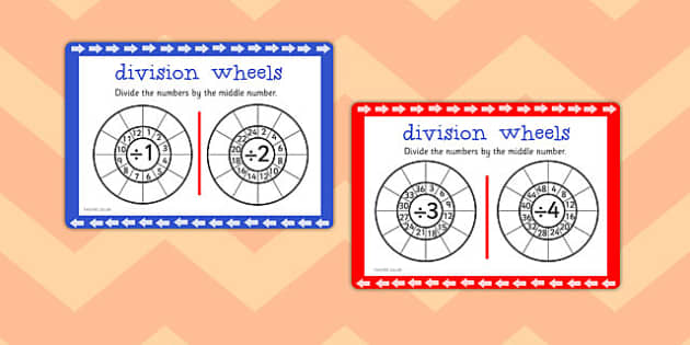 Division Wheels Maths Challenge Cards - division, wheels, maths