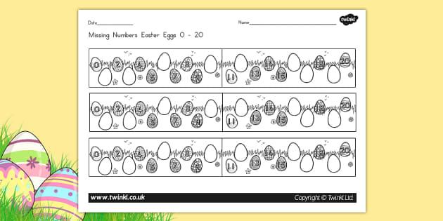 Missing Numbers Easter Eggs Worksheet 0 20 - counting, easter