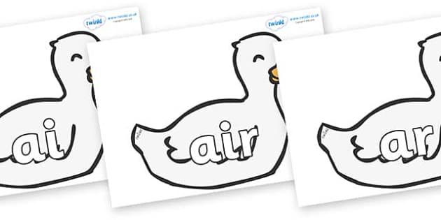 Phase 3 Phonemes on Mother Duck - Phonemes, phoneme, Phase 3, Phase three, Foundation, Literacy, Letters and Sounds, DfES, display