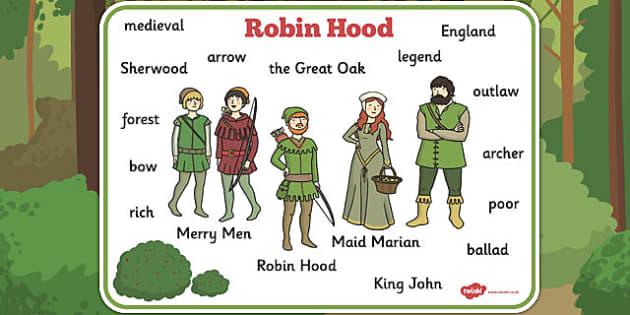 Robin Hood Word Mat - robin, hood, word, mat, robin hood, tale