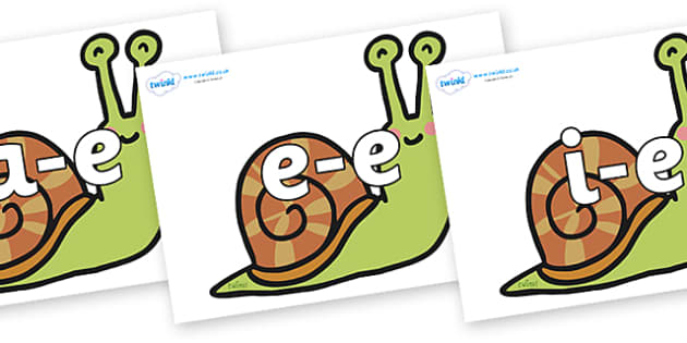 Modifying E Letters on Snails - Modifying E, letters, modify, Phase 5, Phase five, alternative spellings for phonemes, DfES letters and Sounds