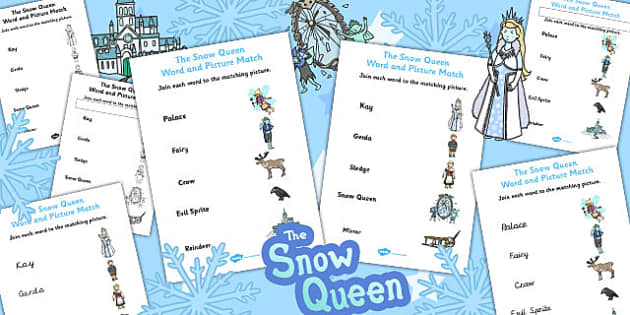 The Snow Queen Word and Picture Match - snow queen, match, word