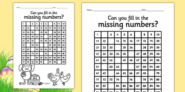 Easter Themed Missing Numbers Number Square Differentiated