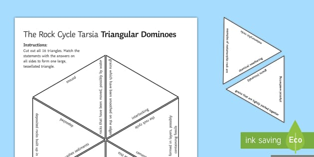 The Rock Cycle Tarsia Triangular Dominoes - Tarsia, Dominoes, Rock Cycle, Sedimentary, Igneous, Metamorphic, Weathering, Cementation, Deposit, G