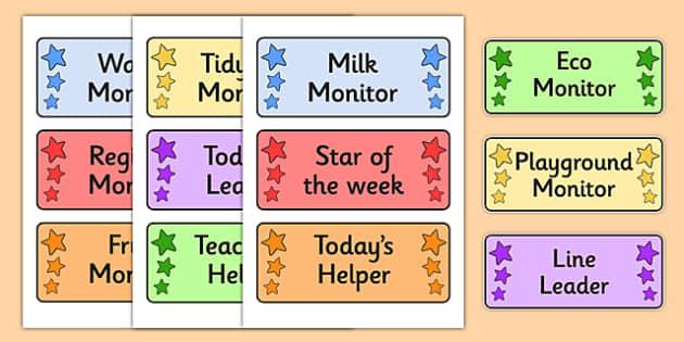 Editable Classroom Monitor Badges - Editable pupil job badges, monitors, classroom monitors, pupil jobs, helpers, editable label, job labels, name Labels, Editable Labels, Drawer Labels, Coat Peg Labels, Peg Label, KS1 Labels, Foundation Labels, Foun