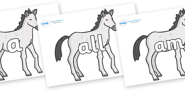 Foundation Stage 2 Keywords on Ponies - FS2, CLL, keywords, Communication language and literacy,  Display, Key words, high frequency words, foundation stage literacy, DfES Letters and Sounds, Letters and Sounds, spelling