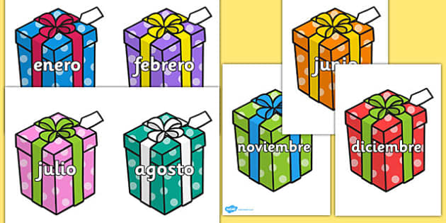 Months of the Year on Birthday Presents Spanish-Spanish