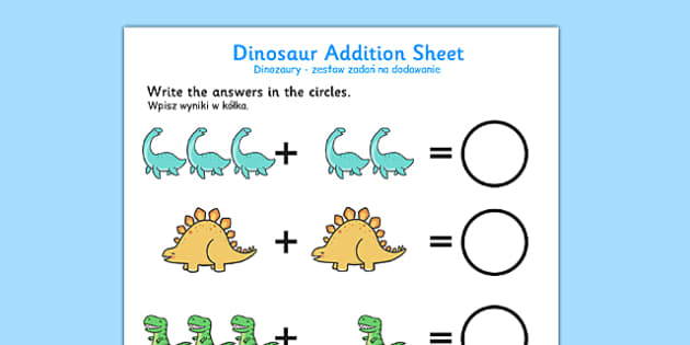 Cute Dinosaur Addition Sheet Polish Translation - bilingual, topic, maths, history
