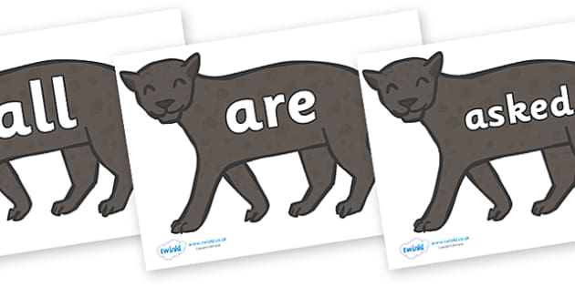 Tricky Words on Panthers - Tricky words, DfES Letters and Sounds, Letters and sounds, display, words