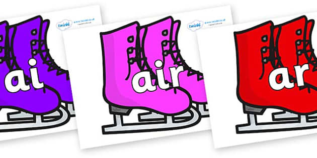 Phase 3 Phonemes on Ice Skates - Phonemes, phoneme, Phase 3, Phase three, Foundation, Literacy, Letters and Sounds, DfES, display