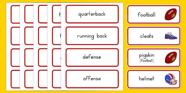 NFL Vocabulary Cards - usa, nfl, vocabulary cards, vocabulary, cards, word cards, football, american football