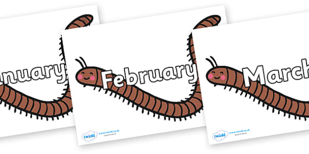 Months of the Year on Millipedes - Months of the Year, Months poster, Months display, display, poster, frieze, Months, month, January, February, March, April, May, June, July, August, September