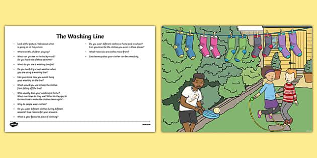 The Clothes Line Oral Language Activity Sheet-Irish, worksheet