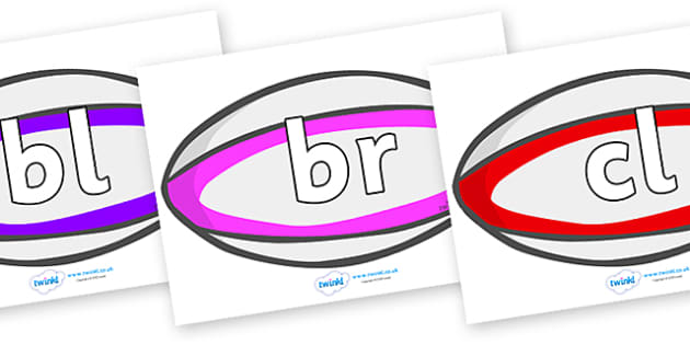 Initial Letter Blends on Rugby Balls - Initial Letters, initial letter, letter blend, letter blends, consonant, consonants, digraph, trigraph, literacy, alphabet, letters, foundation stage literacy