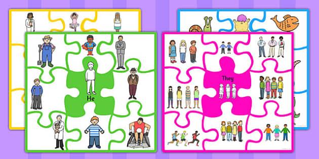 Match The Pronoun Jigsaw - pronouns, nouns, SEN, SEN game, puzzle