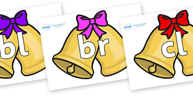 Initial Letter Blends on Christmas Bells (Bows) - Initial Letters, initial letter, letter blend, letter blends, consonant, consonants, digraph, trigraph, literacy, alphabet, letters, foundation stage literacy