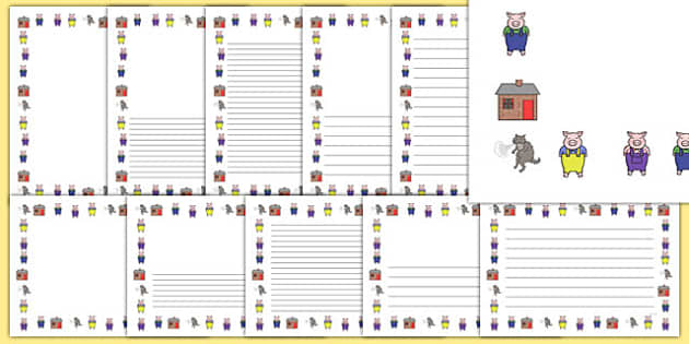 The Three Little Pigs Page Borders - Three little pigs, traditional tales, page border, a4 border, template, writing aid, writing border, page template, tale, fairy tale, gingerbread, little old man, little old woman, fox, run run