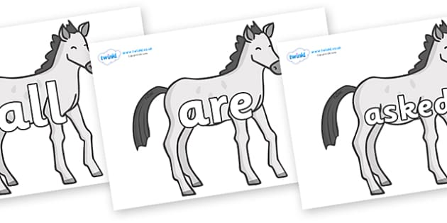 Tricky Words on Ponies - Tricky words, DfES Letters and Sounds, Letters and sounds, display, words