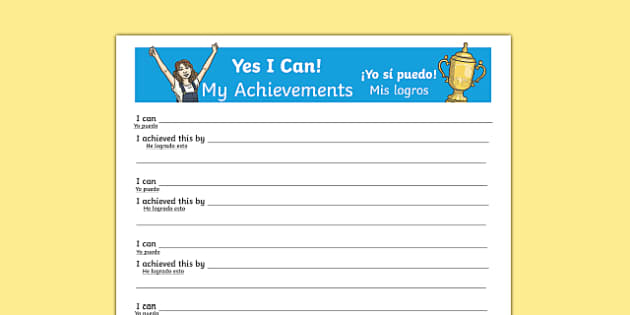 Yes I Can! My Achievements KS2 Activity Sheet Spanish Translation - spanish, Paralympics, Rio 2016, sporting events, pupil achievements, self awareness, self esteem, PSHE, SEAL, All about me, worksheet