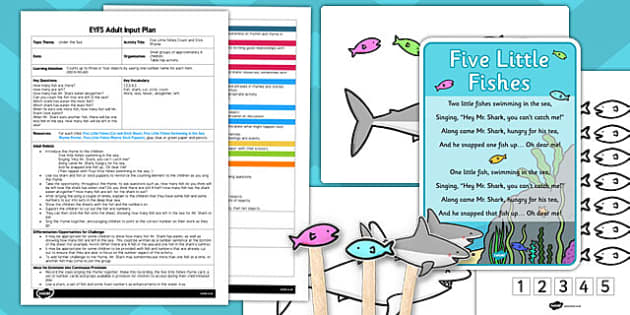 Five Little Fishes Count and Stick EYFS Adult Input Plan and Resource Pack- eyfs