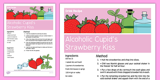 Elderly Care Valentine's Day Alcoholic Drink Recipe - Elderly, Reminiscence, Care Homes, Valentine's Day