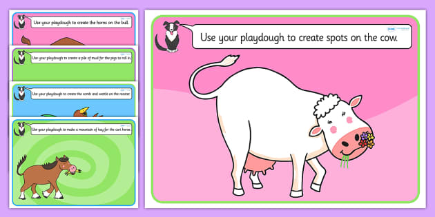 Playdough Mats to Support Teaching on Farmyard Hullabaloo - farm, fine motor skills