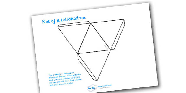 Net Of A Tetrahedron - net, tetrahedron, platonic solids, activity, building, creative
