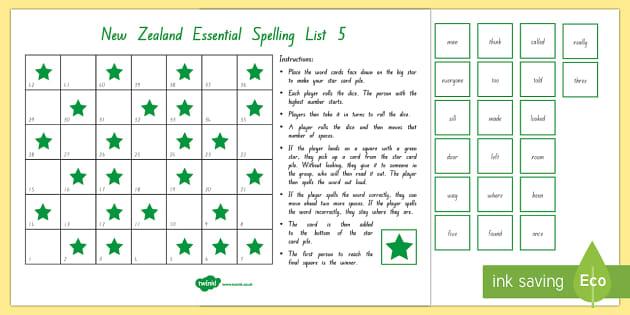 New Zealand Essential Spelling List 5 Board Game - Literacy, Spelling, List 5, Essential Spelling, new zealand, nz