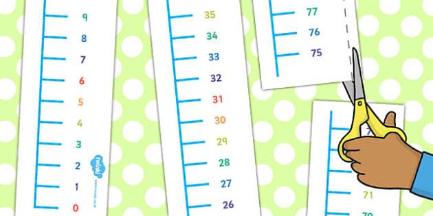 Vertical 0 to 100 Number Line - number, line, vertical, number