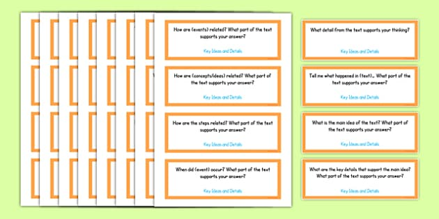 Common Core Third Grade Reading Informational Text Question Stem Cards USA - American, comprehension, prompts, story, non-fiction, English