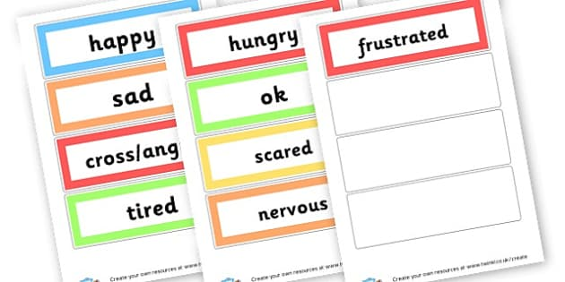 Emotions words - Emotions & Behaviour SEN Primary Resources, Dyslexia , SEN, EAL