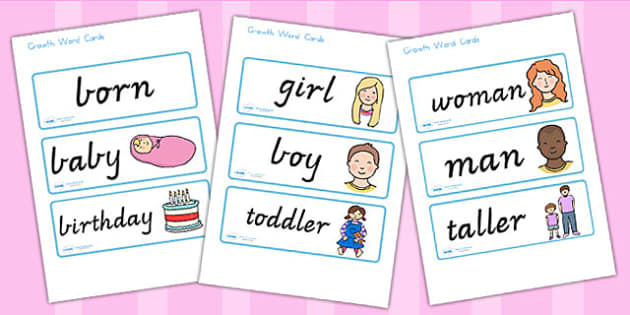 Growth Word Cards - growth, growing, ourselves, growing up, cards