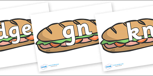 Silent Letters on Sandwiches - Silent Letters, silent letter, letter blend, consonant, consonants, digraph, trigraph, A-Z letters, literacy, alphabet, letters, alternative sounds