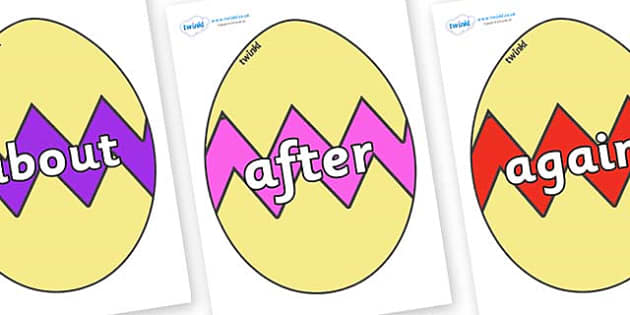 KS1 Keywords on Easter Eggs (Cracked) - KS1, CLL, Communication language and literacy, Display, Key words, high frequency words, foundation stage literacy, DfES Letters and Sounds, Letters and Sounds, spelling