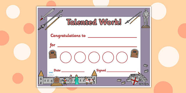 Castles and Knights Themed Reward Certificates - castle, knight