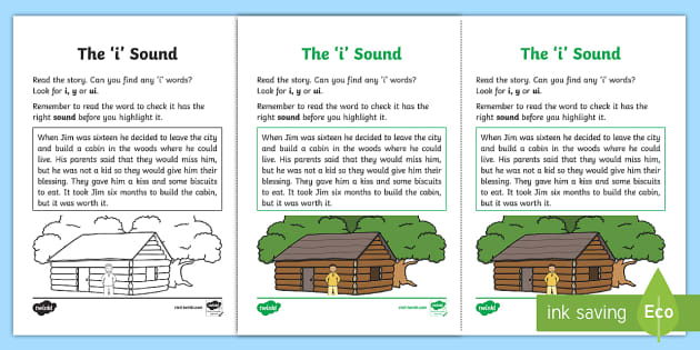Northern Ireland Linguistic Phonics Stage 5 and 6 Phase 3b, 'i' Sound Activity Sheet - Linguistic Phonics, Phase 3b, Northern Ireland, 'i' sound, sound search, text, Worksheet