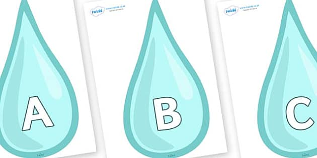 A-Z Alphabet on Water Drops - A-Z, A4, display, Alphabet frieze, Display letters, Letter posters, A-Z letters, Alphabet flashcards
